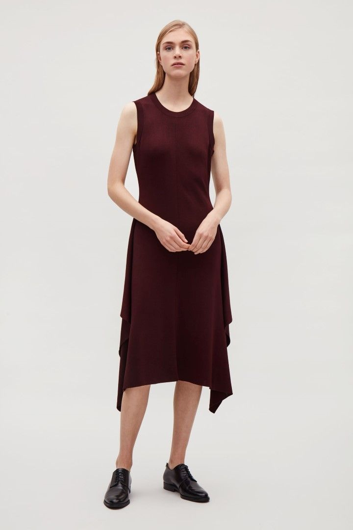 COS image 1 of Knitted dress with drape detail  in Burgundy