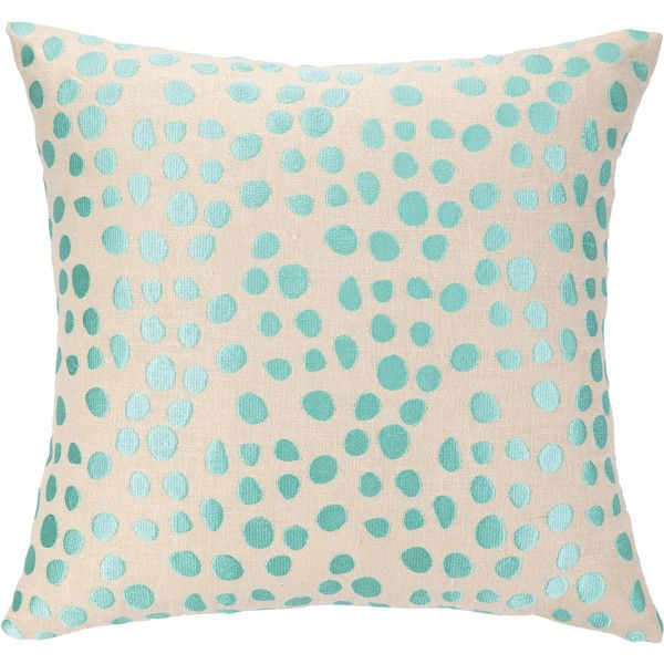 Pebble Parade Ocean Embroidered Pillow found on Polyvore