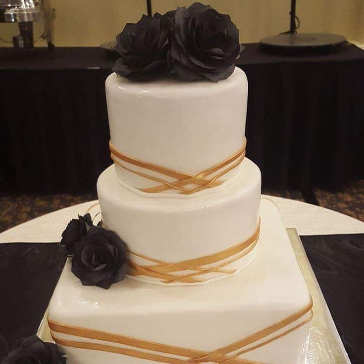 Custom ordered black roses for wedding cake on May 27,2016. Looks fantastic!! Thanks to my customer for sending the final work picture!