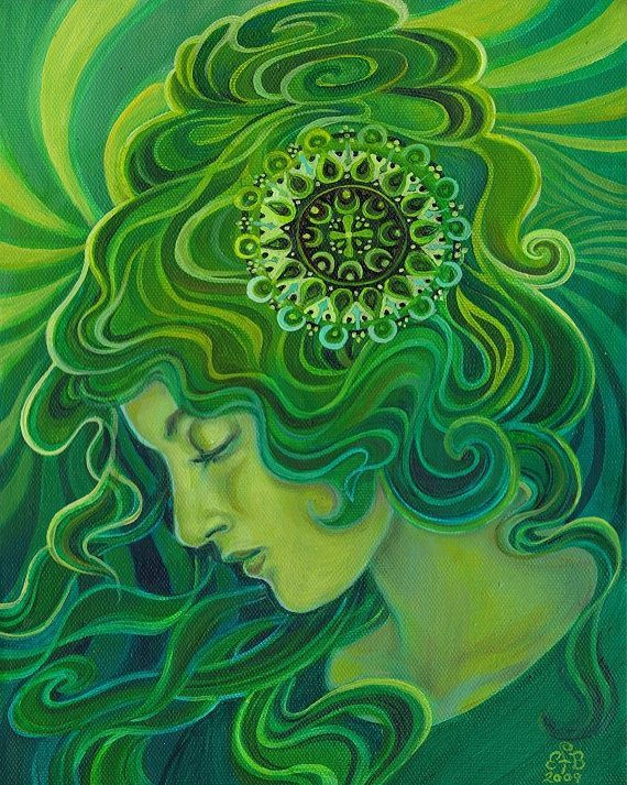 """Gaia ~ The Green Goddess"" by Emily Balivet. Acrylic on canvas, 2009."
