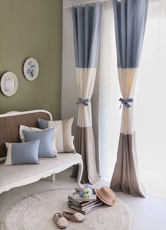 Gorgeous horizontal striped drapery panels with cute ties. Love, love, love! #windowtreatments #horizontalstripes