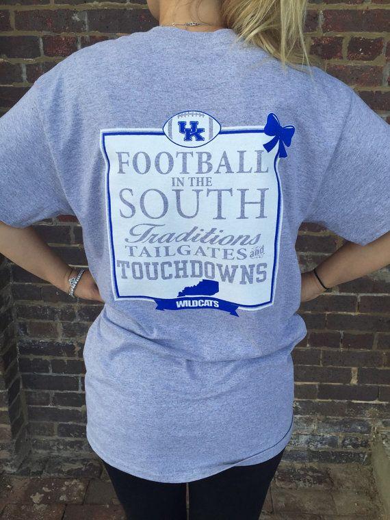 UK Football tshirt, Womens Kentucky football shirt, University of Kentucky Ladies Tshirt, UK Tee, Football in the south adult tee