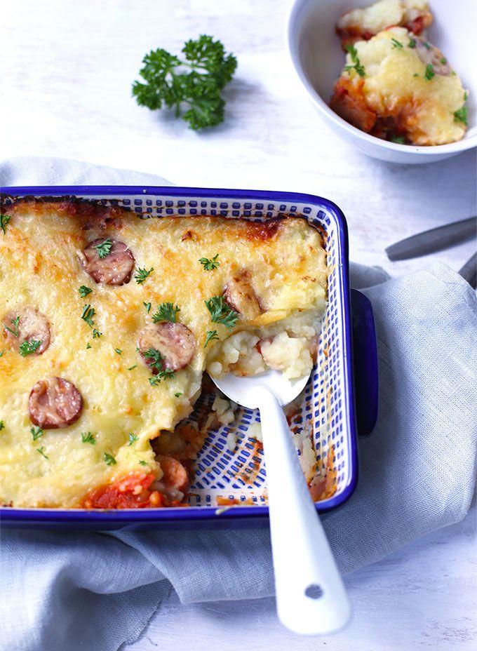Ovenschotel met aardappelpuree en rookworst