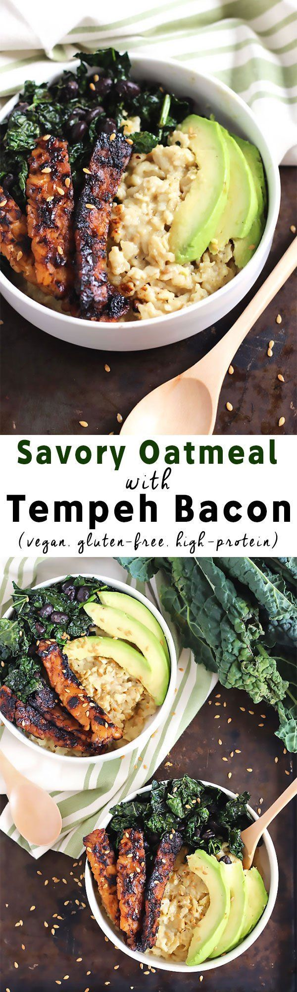 Switch up your normal sweet breakfast with this Vegan Savory Oatmeal! Topped with kale, black beans, and tempeh bacon, it's a plant protein powerhouse.
