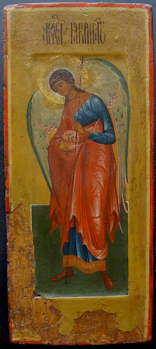 Archangel Gabriel, Russian icon, around 1800, tempera on wooden board, size 41 x 18 cm