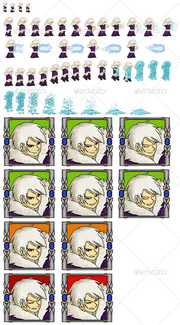 Sprite Sheet - Wizard Kit - RPG  #GraphicRiver         The Main File contains: - Sprite Sheet PNG - Help txt file - Layered PSD contains  – Standby  – Energy attack  – Character Death  – Mugshots   – Normal (w/ speech)   – Blink ( w/ speech)   – Hurt     Created: 5December12 GraphicsFilesIncluded: PhotoshopPSD #TransparentPNG HighResolution: No Layered: Yes MinimumAdobeCSVersion: CS2 Tags: character #mage #pixel #rpg #sorcerer #sprite #spritesheet #videogame #wizard