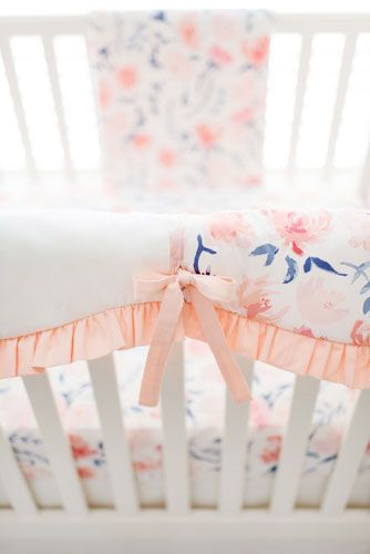 Floral Crib Bedding | Peach Baby Bedding | Girl Crib Bedding