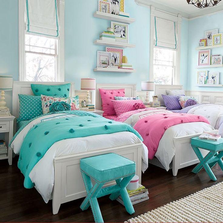 chambre partagée par 3 filles décoration chic blanc rose turquoise