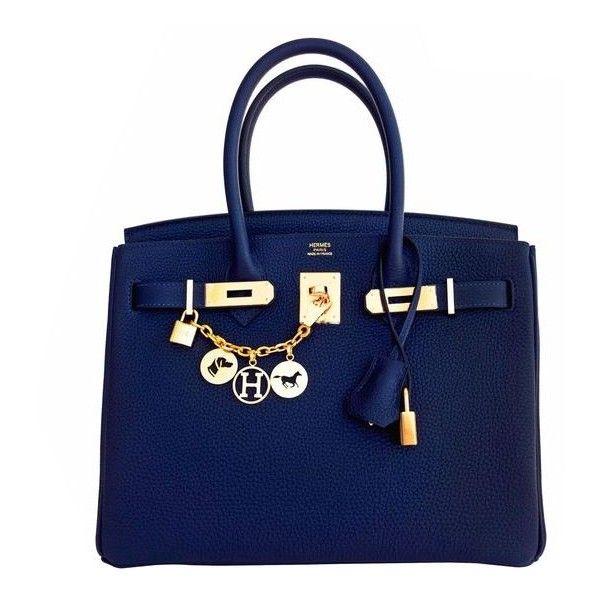Hermes Navy Blue Nuit Togo 30cm Birkin Gold Hardware Bleu Nuit... ❤ liked on Polyvore featuring bags, handbags, navy purse, blue bag, navy blue purses, navy bag and top handle handbags