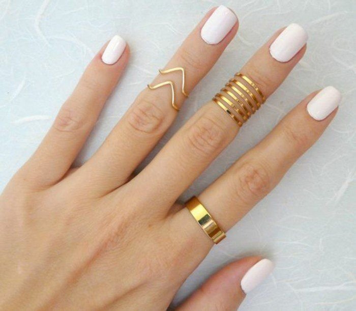 Awesome a phalanx ring to showcase a white manicure