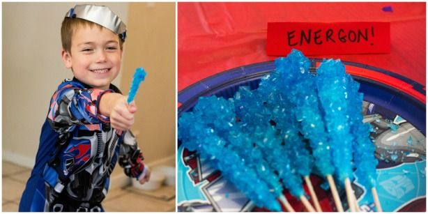 Use blue rock candy as Energon at boy's Transformers and Rescue Bots birthday party! Boy's Transformer and Rescue Bots Birthday Party #morethanmeetstheeye #transformerfoodideas #transformerpartyideas @ Rub Some Dirt On It