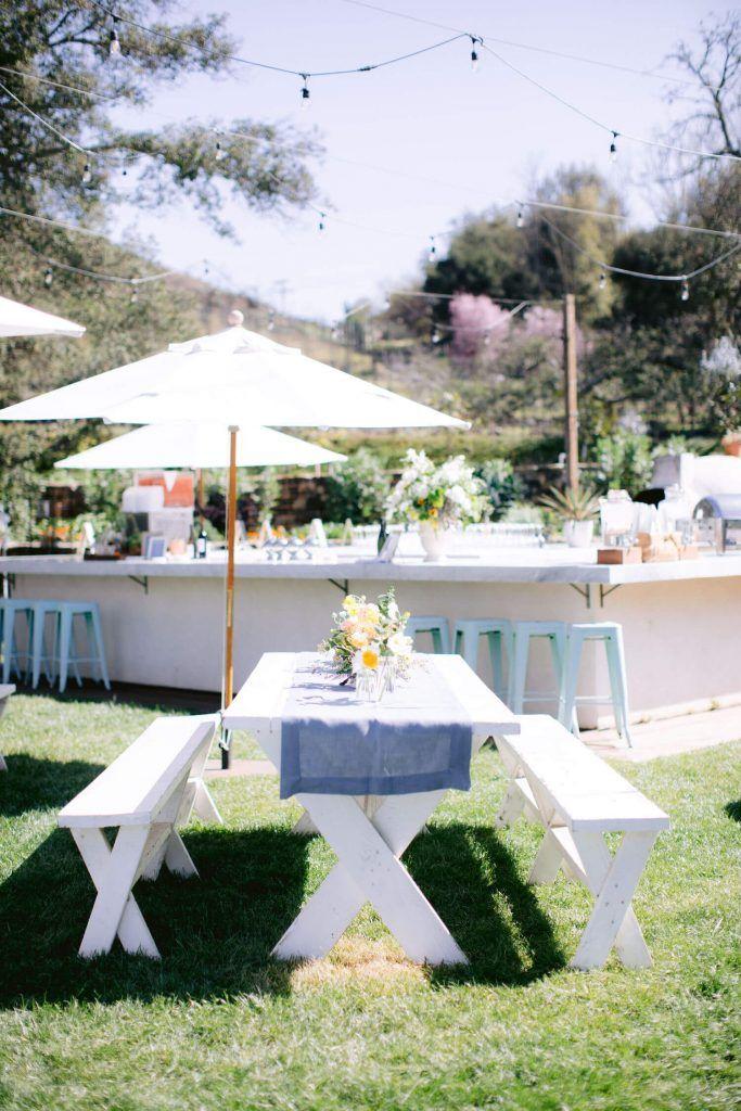 BACKYARD BBQ Party theme | Long picnic table decor | 9 Fun ... on outdoor shower ideas backyard, bbq ideas backyard, party ideas backyard, diy backyard, sports ideas backyard,