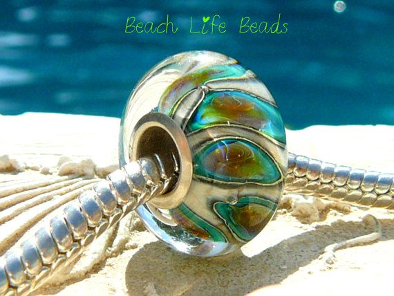 MERMAID EYES OPAL Fully Lined Sterling Silver Big Hole Bead fits Troll Trollbeads Chamilia and European Charm Handmade Lampwork via Etsy