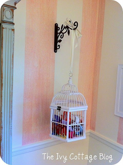 Use a birdcage for hair bow storage for your little girl!  Check out our great home decor and storage solutions at Old Time Pottery!  http://www.oldtimepottery.com/