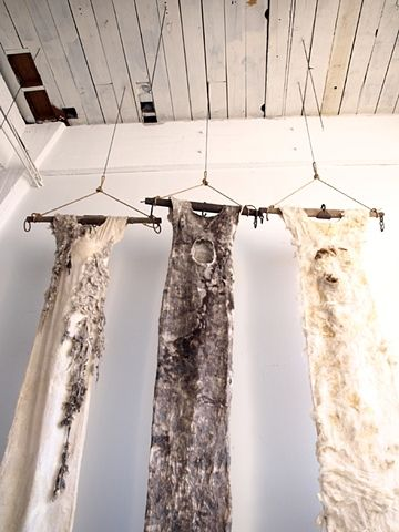 """Textile Art - fibre & fabric dress sculptures made from wool, silk & linen - exploring the idea that we are inextricably a part of the natural world // """"mnemosyne series"""" by Moira Bateman"""