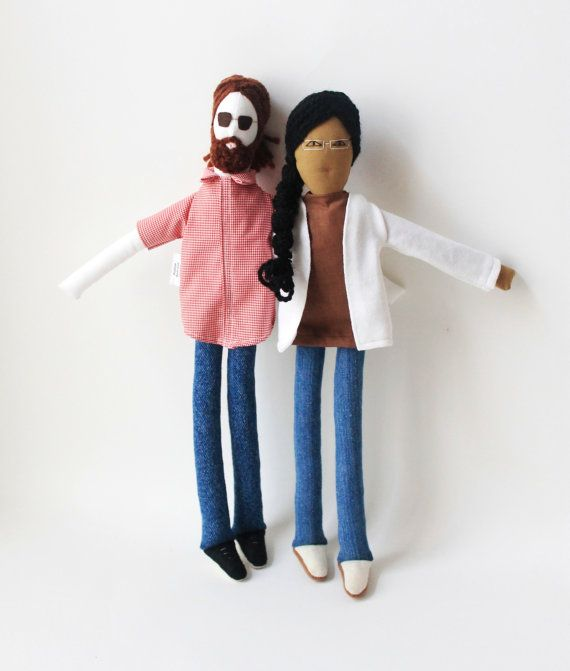 Personalized couple fabric dolls custom portrait by FulBelSic