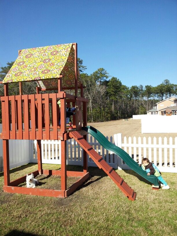 Free playset plans online woodworking projects plans for Homemade forts outdoors