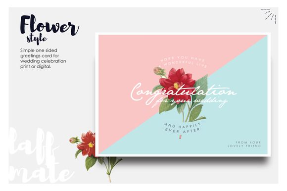 Modern greeting card for wedding by Laffmate on Creative Market