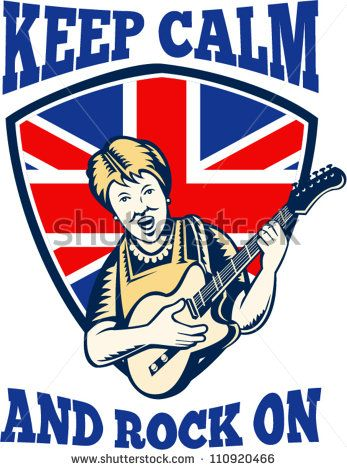 """Retro illustration of a british granny queen playing guitar with union jack flag set inside shield with words """"keep calm and rock on"""". - stock vector #electricguitar #woodcut #illustration"""