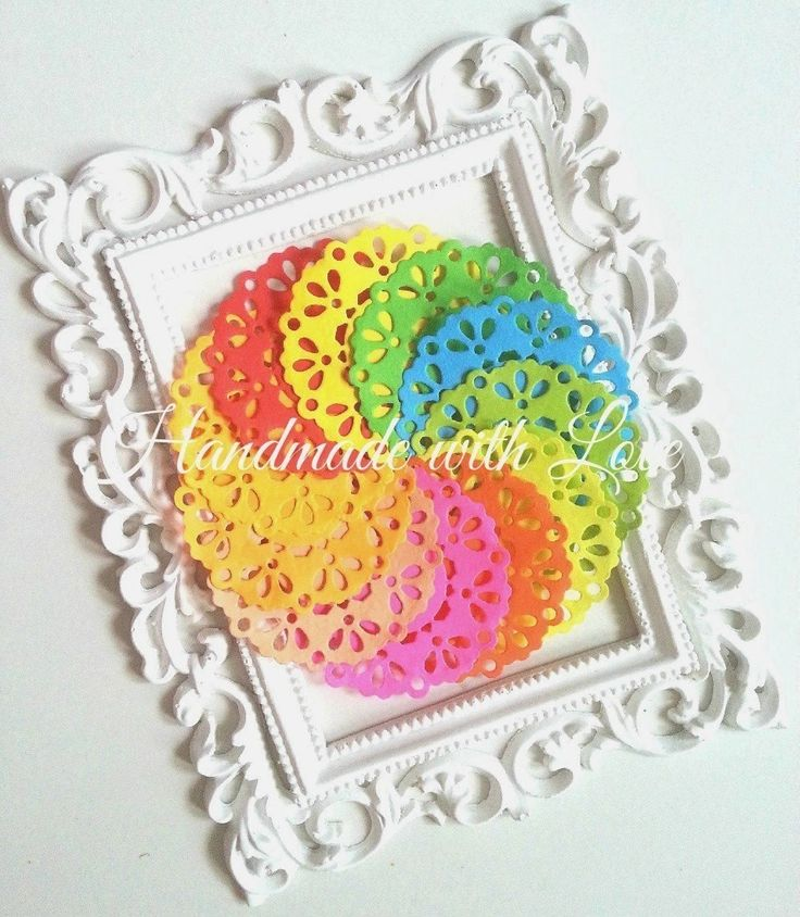 2.3 inches Bright Paper Doilies, 1 pack of 11 color.  Perfect to brighten your project, party, decoration and even your day! by PaperCraftwithLove on Etsy