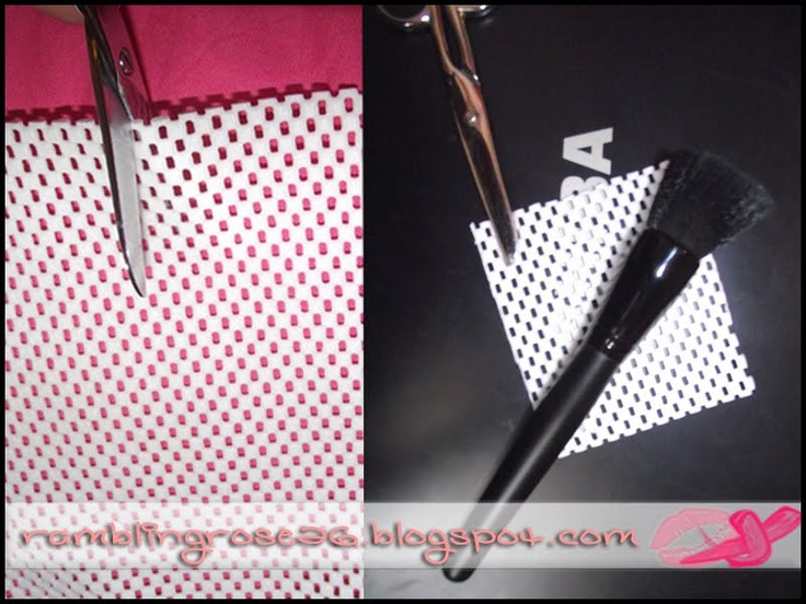 DIY: Homemade makeup brush guard with dollar store shelf liner - save your brushes from getting bent!