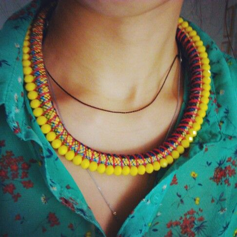 KENDA Necklace in Yellow. Handmade necklace made out of Ceko crystals, thread, wire wrapped cloth and metal. Made in Indonesia. $50