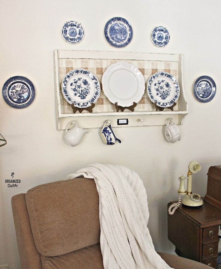 Shaker Shelf Upcycle with Chalk Paint & Stencils #stencil #oldsignstencils #buffalocheck #ironstone #bluewillow