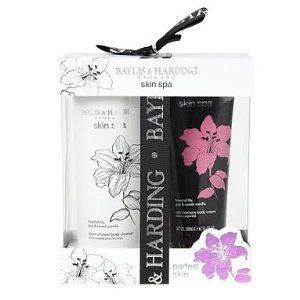 Baylis & Harding Skin Spa Perfect Skin (2 piece set) by Baylis & Harding England. $25.00. Imported from England. 1 x 200ml body cream. refreshing floral smell which will burst new life into you. tropical lily, goji and sweet vanilla scent. 1 x 500ml body cleanser. This skin spa 'perfect skin' set from Bayliss & Harding features a steam shower body cleanser and a rich intense body cream to lather over yourself afterwards.