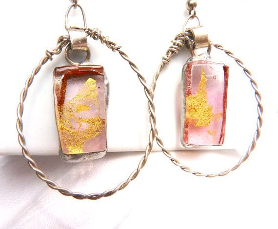 Oval pink and gold earringsartisan glass by Dartisanglass on Etsy