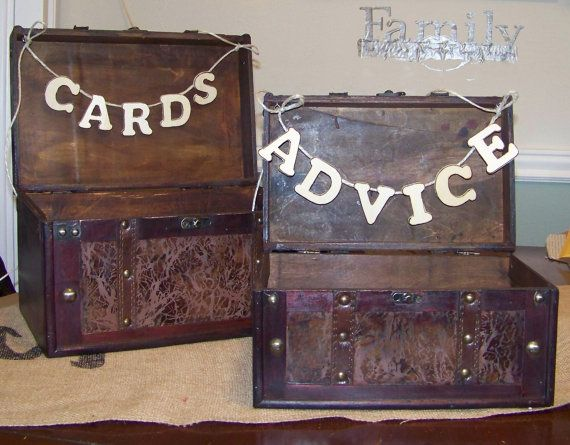 Rustic Wedding Cards and Advice Boxes Set of 2 by sugarplumcottage, $90.00