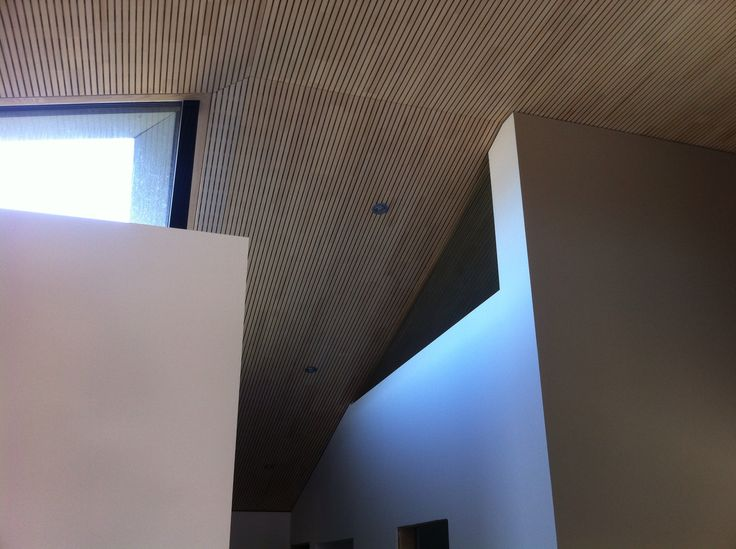 Lovely passivhaus details by @Createrra in Slovakia. Borrowed light to bathroom, Lignotrend acoustic ceiling