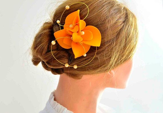 Orange fascinator Bridesmaid headpiece Hair flower by MyArtDeco