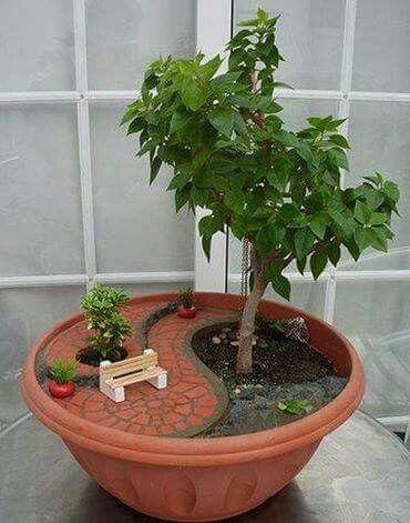 Magical fairy garden pot bench and brick