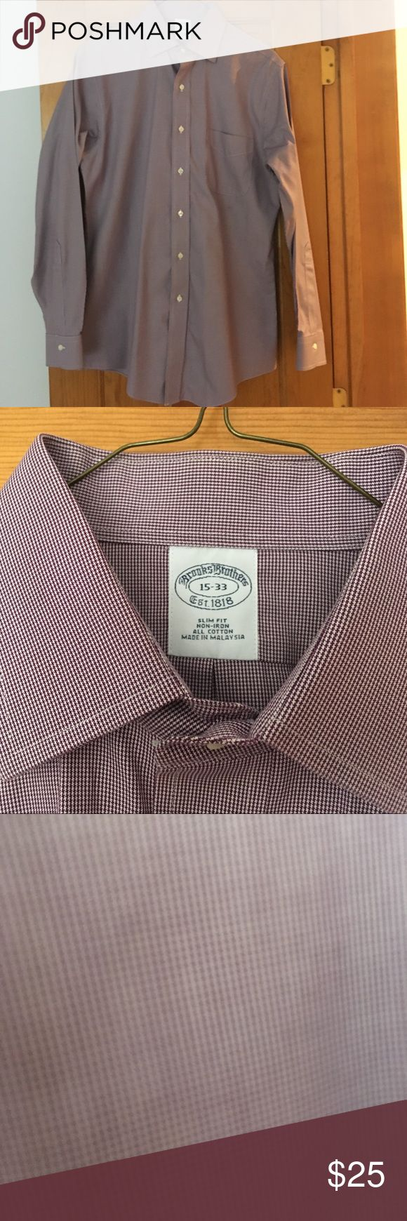 Brooks Brothers Slim Fit non-iron dress shirt Brooks Brothers Slim Fit non-iron dress shirt in small purple check in excellent condition. Brooks Brothers Shirts Dress Shirts