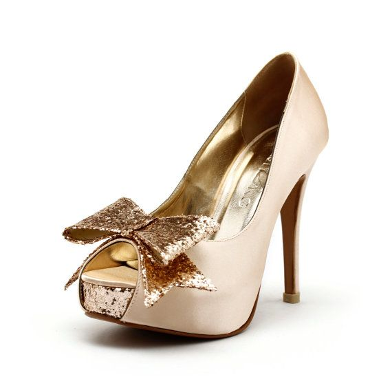 You May As Well Write My Name All Over These A Glittery B Gold Champagne Wedding Shoeschampagne Heelsgold