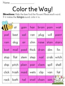 Read the words; if they make the long a sound, color them to help the bee find the flowers (Spring is in the Air -ai -ay Literacy Packet)