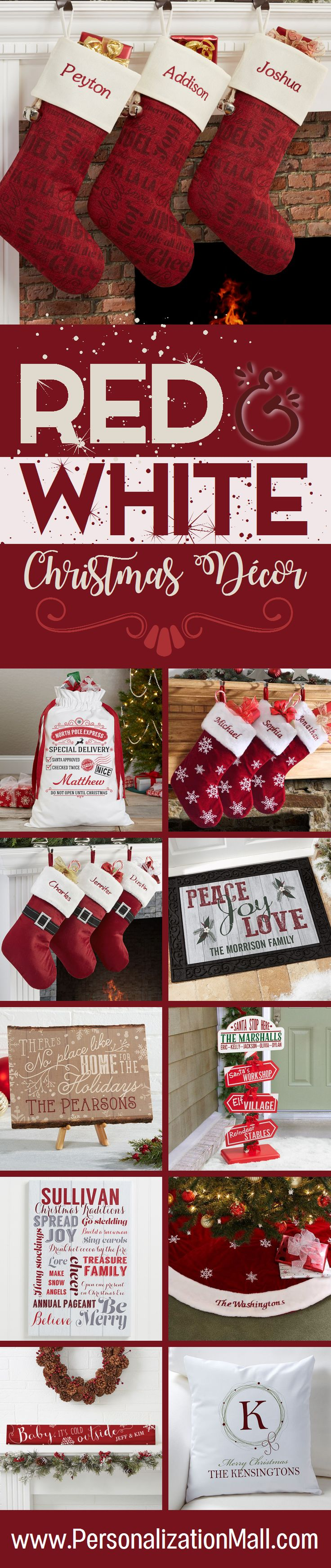 LOVE These ideas for red and white Christmas decorations! They have TONS of beautiful personalized stockings and Christmas signs and more. And I LOVE the red and white Christmas décor idea - makes for such a pretty Christmas mantle!