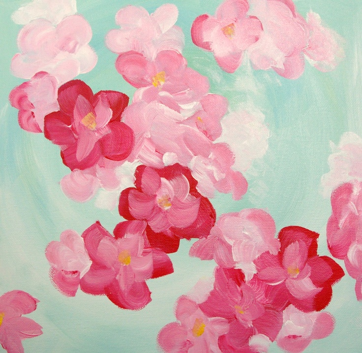 Flower Painting on canvas, original painting wall decor for home. $34.00, via Etsy.