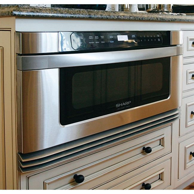 Maximize the space in your kitchen by installing a Sharp microwave drawer. This sleek microwave can be built in to any pre-existing cabinets and features eleven different power levels.