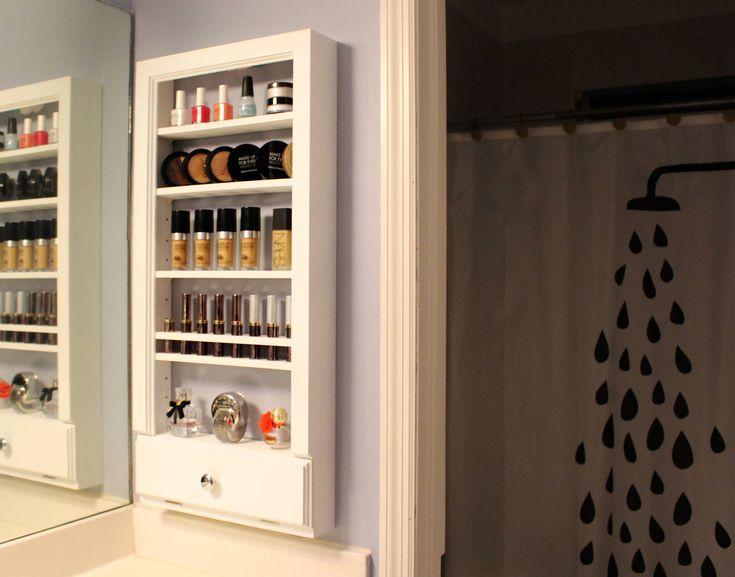 Wall Mounted Makeup organizer, Cosmetic Storage, Bathroom Organizer, Vanity Organizer, Adjustable shelves, Wall rack, Nail polish display