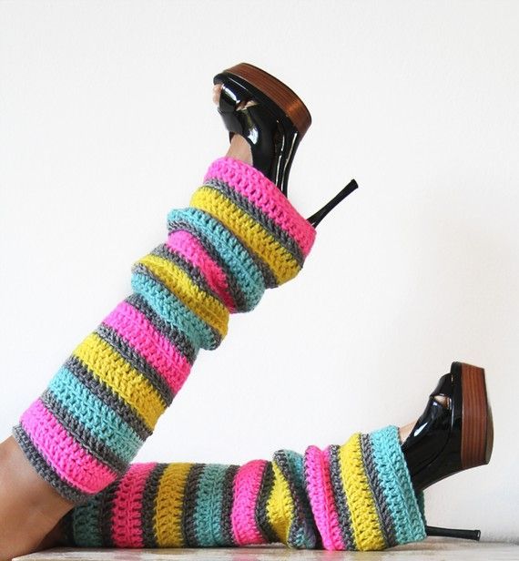 80s Party Leg Warmers in Neon Stripes by mademoisellemermaid, $50.00
