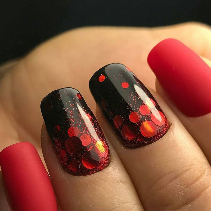 Evening dress nails, Evening nails, February nails, Ideas of evening nails, Matte red nails, Red nails ideas, Two color nails, Winter nails 2016