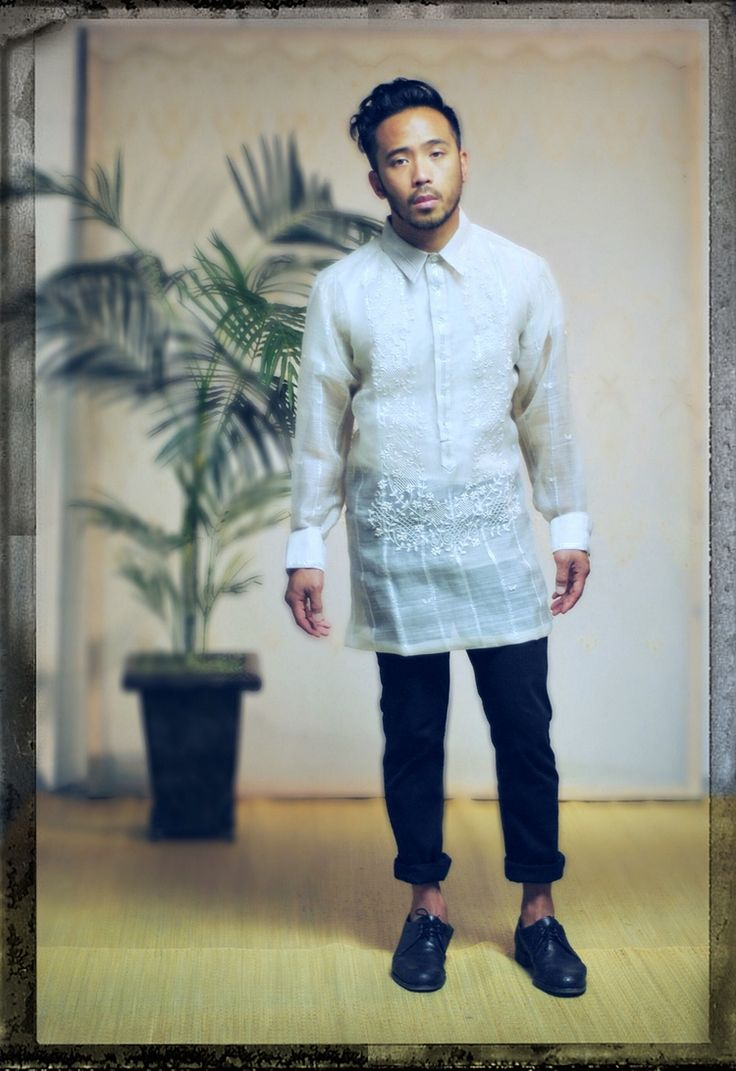 classic barong tagalog with moderm slim fit