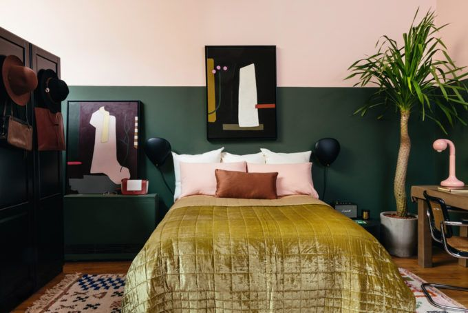 These Two Sisters Live Together In A Color Explosion A Cup Of Jo Green Bedroom Walls Bedroom Green Contemporary Bedroom