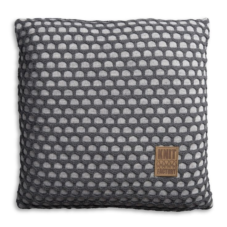 Pillow 50x50 - Mila VZ light grey / antra by Knit Factory www.knitfactory.nl