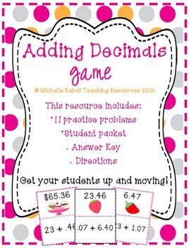 Get your students up and moving as they play this adding decimals game!  Your students will have fun as they follow their answer to the next problem in the game!