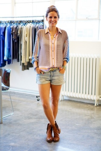 Who: Lien Vets  Gig: Account Manger at Simon Showroom   What She's Wearing: Clover Canyon Blouse, H Shorts, Sam Edelman Shoes