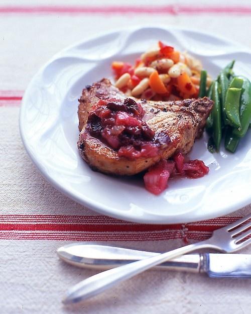 Pork Chops with Rhubarb-Cherry Sauce: Airtight Container, Rhubarb Sauce, Sauces, Rhubarb Cherry, Roasted Chicken, Goat Cheese, Pork Chops