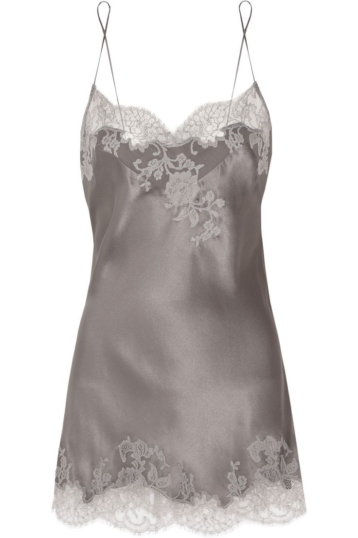 Carine Gilson|Sonia lace-appliquéd silk-satin chemise|NET-A-PORTER.COM