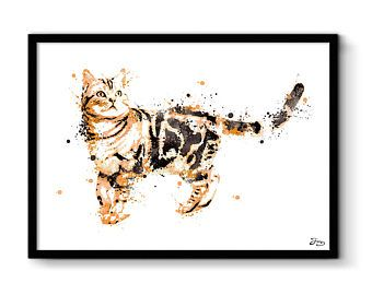 Kat illustratie print kat, huisdier kat poster kunst, displays dieren, interieur decoratie, verjaardag cadeau, huwelijkscadeau